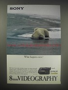 1990 Sony 8mm Handycam Traveller Video Camcorder Ad