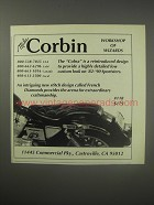 1990 Corbin Cobra Motorcycle Seat Ad - Mike Corbin Workshop of Wizards