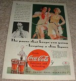 1934 Coke Coca-Cola Ad, Women Bicyclists - Slim Figure!