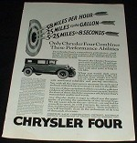 1925 Chrysler Four Car Ad, Performance NICE!!