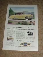 1952 Yellow Chevrolet Bel Air Ad, NICE!!!