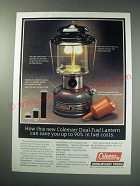 1991 Coleman Dual-Fuel Lantern Ad - Save 90% in Fuel Costs