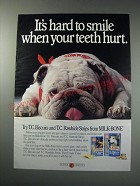 1991 Milk-Bone T.C. Biscuits and T.C. Rawhide Strips Ad - It's hard to smile