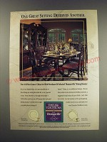 1991 Thomasville Dining Room Furniture Ad - Lenox Eternal and Holiday China
