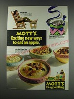 1991 Mott's Apple Sauce and Apple Juice Ad - Mott's exciting new ways to eat