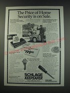 1991 Schlage Keepsafer Security system Ad - The price of home security