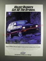 1991 Chevy S-10 Blazer Ad - Blazer owners get all the brakes