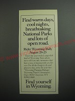 1989 Wyoming Travel Commission Ad - Find warm days, cool nights