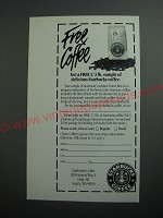 1989 Starbucks Coffee Ad - Free coffee Get a free 1/3 lb. sample of delicious