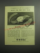 1948 Omega 30mm Wrist Watch Ad - Again for the 15th year