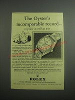 1948 Rolex Oyster Watch Ad - The Oyster's incomparable record