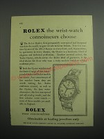1948 Rolex Oyster Watch Ad - Rolex the wrist-watch connoisseurs choose