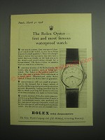 1948 Rolex Oyster Watch Ad - The Rolex Oyster - first and most famous