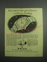 1948 Rolex Oyster Watch Ad - The watch that goes forever - without winding