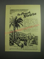 1948 French National Tourist Office Ad - The French Riviera