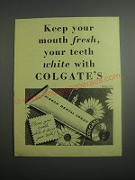 1948 Colgate's Ribbon Dental Cream Ad - Keep your mouth fresh, your teeth white