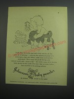 1948 Johnson's Baby Powder Ad - Teddy Bear sits on the taps and wisely watches