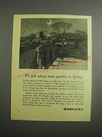 1948 Horlicks Drink Ad - We fall asleep more quickly in Spring