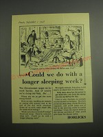 1948 Horlicks Drink Ad - Could we do with a longer sleeping week?