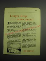 1948 Horlicks Drink Ad - Longer sleep ..shorter queues?