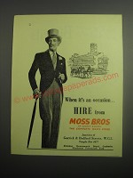1948 Moss Bros Fashion Ad - When it's an occasion.. Hire from Moss Bros