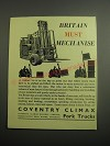 1948 Coventry Climax Fork Trucks Ad - Britain must mechanise