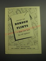1948 Ronson Flints Ad - Insist on Ronson Flints - They are best for all Lighters