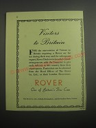 1948 Rover Cars Ad - Visitors to Britain