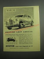 1948 Austin A40 Car Ad - Austins last longer