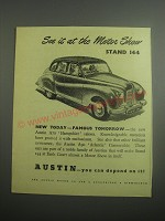 1948 Austin A70 Hampshire Saloon Car Ad - See it at the motor show stand 144