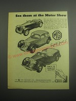 1948 MG Cars Ad - See them at the motor show