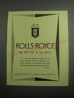 1948 Rolls-Royce Cars Ad - Rolls-Royce the best car in the world