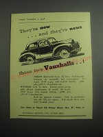 1948 Vauxhall Velox Car Ad - They're new ..and they're news these two Vauxhalls