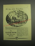 1948 Lloyds Bank Ad - We too, serve Travellers