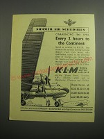 1948 KLM Royal Dutch Airlines Ad - Summer air schedules