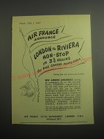 1948 Air France Ad - Air France announce London to Riviera non-stop