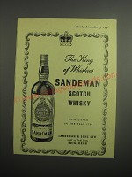 1948 Sandeman Scotch Whisky Ad - The king of Whiskies