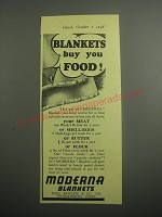1948 Moderna Blankets Ad - Blankets buy you food!