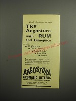 1948 Angostura Aromatic Bitters Ad - Try Angostura with Rum and Limejuice
