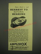 1948 Amplivox Hearing Aid Ad - Nearest to natural hearing