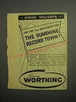 1948 Worthing Tourism Ad - For the 3rd successive year the sunshine record town