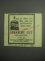 1948 Lambert & Butler Straight Cut Cigarettes Ad - Fine as they are they cost