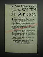 1937 South Africa Tourism Ad - For new travel thrills try South Africa