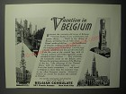 1937 Belgian Consulate Ad - Vacation in Belgium