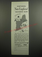 1937 New England Council Ad - Map your New England vacation now