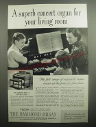 1937 The Hammond Organ Ad - A superb concert organ for your living room