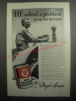 1937 Texaco Motor Oil Ad - He solved a problem for the oil refiner
