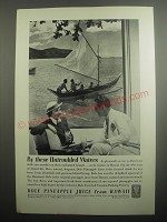1937 Dole Pineapple Juice Ad - By these untroubled waters