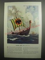 1937 Travelers Insurance Ad - Viking Ship (circa 1000 A.D.)