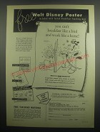 1949 Cereal Institute Inc. Ad - Walt Disney Poster with Teaching Unit